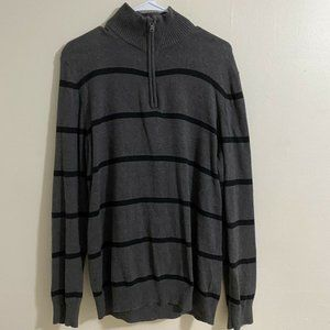 Old Navy Grey Striped 1/4 Zip Pullover Sweater